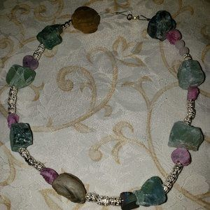 Beautiful Brand New Raw Rock Necklace Made By Me!